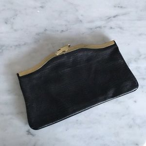 Vintage snake embossed black leather gold hardware